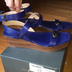7 For All Mankind Blue Platforms Size 10
